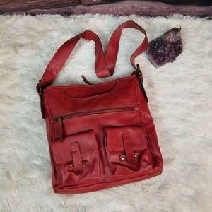 ALDO Purse Red pebbled leather satchel adj strap